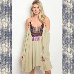 Boho Beach Vibes Embroidered Cold Shoulder Tassels